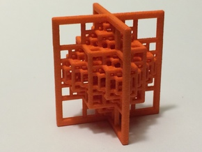 Beamed Octahedron Fractal - Medium in Orange Processed Versatile Plastic