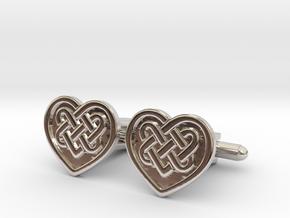 Heart Cufflink in Platinum