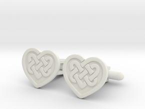 Heart Cufflink in White Natural Versatile Plastic