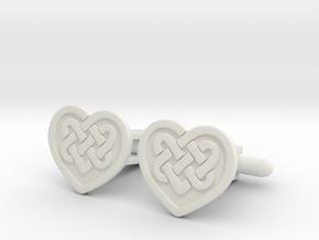Heart Cufflink in White Natural Versatile Plastic