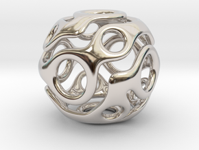 Wrapped Eyes #2 in Rhodium Plated Brass