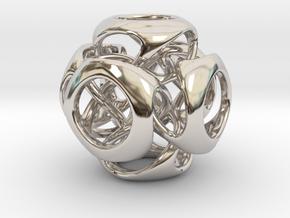 Tangled Cube Pendant in Platinum
