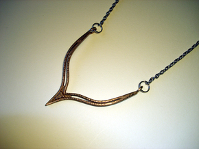 V13 Necklace Pendant in Polished Bronzed Silver Steel