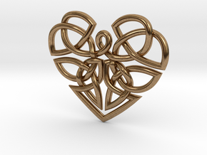 Heart Celtic Knot Pendant in Natural Brass