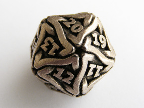 'Twined' Dice D20 Spindown Life Counter Die 24mm in Stainless Steel
