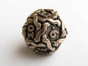 'Twined' Dice D12 Gaming Die (20mm) in Polished Bronzed Silver Steel