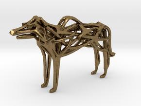 GeoHound Dog Pendant Keychain in Raw Bronze