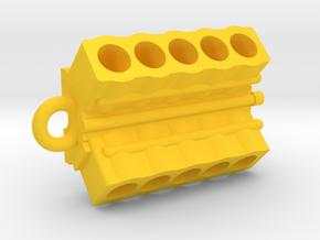V10 Engine block pendant/keychain in Yellow Processed Versatile Plastic