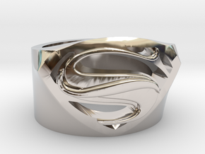 Superman Ring - Man Of Steel Ring US11 in Rhodium Plated Brass
