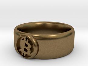 Bitcoin Ring (BTC) - Size 9.5 (U.S. 19.35mm dia) in Natural Bronze