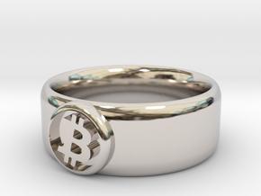 Bitcoin Ring (BTC) - Size 10.0 (U.S. 19.76mm dia) in Rhodium Plated Brass