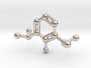 Propofol Molecule Keychain Necklace in Rhodium Plated Brass
