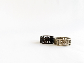 Geometric Ring. Modern design in rugged steel  in Stainless Steel: 8 / 56.75