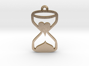 Heart Hourglass Necklace in Polished Gold Steel