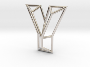 Y Pendant in Rhodium Plated Brass