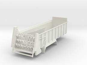 1/64 Scale Horizontal Beater Manure Spreader long  in White Natural Versatile Plastic