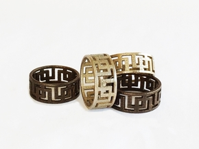 Geometric Ring - Mens ring in rugged steel  in Polished Bronzed Silver Steel: 11 / 64