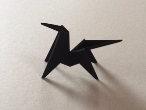 Origami Horse in Black Natural Versatile Plastic