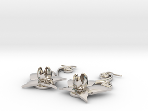 Flower Earrings in Rhodium Plated Brass