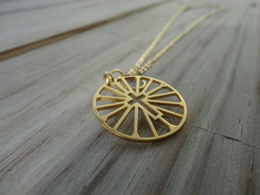 Cross Wheel in 14k Gold Plated Brass