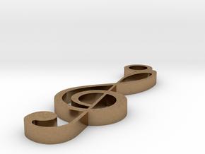 Treble Clef Pendant in Natural Brass