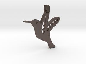 Hummingbird Pendant in Polished Bronzed Silver Steel