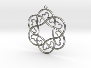 Little Hearts Pendant in Natural Silver