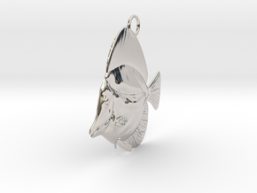 Fish Pendant in Rhodium Plated Brass