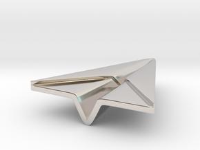 Paperplane in Rhodium Plated Brass