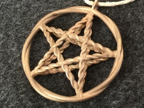 Pentacle pendant - woven in Natural Bronze