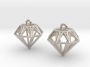 Diamond Earrings in Rhodium Plated Brass