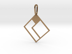 Tetromino Pendant - Diamond Two in Natural Brass