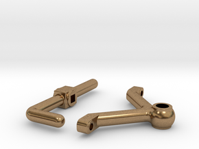 Brake Handle W Brace in Natural Brass