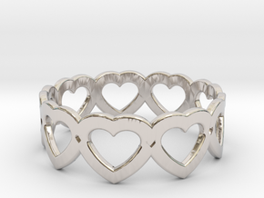 Heart Ring - Size 7 in Rhodium Plated Brass