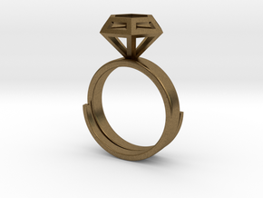 Diamond Ring US 7 3/4 in Natural Bronze
