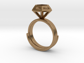 Diamond Ring US 7 3/4 in Natural Brass