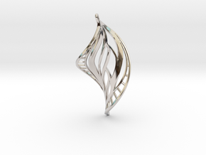 DNA Leaf Spiral Earring (left) in Rhodium Plated Brass