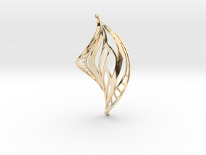 DNA Leaf Spiral Earring (left) in 14k Gold Plated Brass
