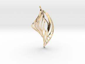 DNA Leaf Spiral Earring (left) in 14k Gold Plated Brass