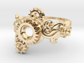Tri-Gear Mech Ring size 10 in 14k Gold Plated Brass