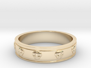 Ring with Skulls - Size 9 in 14K Yellow Gold