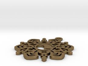 Yin Yang Snowflake Pendant in Natural Bronze