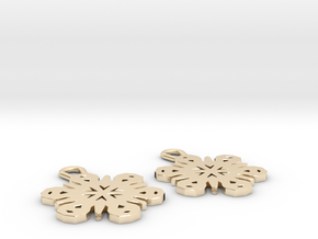 Small Snowflake Earrings in 14K Yellow Gold