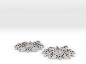 Yin Yang Snowflake Earrings  in Platinum