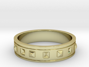 Ring with Studs - Size 9 in 18k Gold Plated Brass