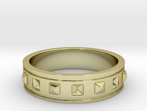 Ring with Studs - Size 7 in 18k Gold Plated Brass