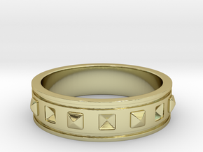 Ring with Studs in 18k Gold Plated Brass