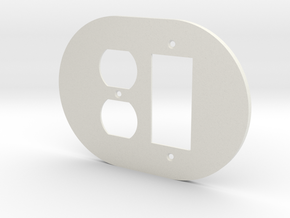 plodes® 2 Gang 1 Duplex Outlet Combo Wall Plate in White Natural Versatile Plastic