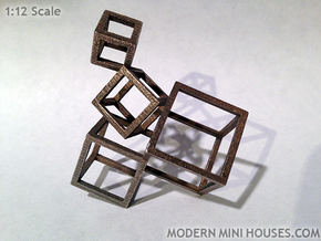 Cubed Art Sculpture 1:12 scale in Polished Bronzed Silver Steel