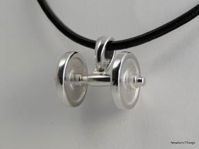 Pendant V18 - Dumbbell in Rhodium Plated Brass
